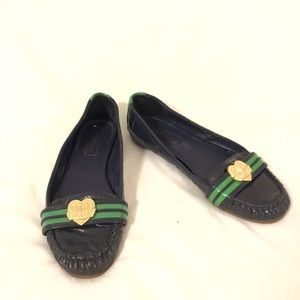 Coach Poppy Navy Blue & Green Loafer Flats